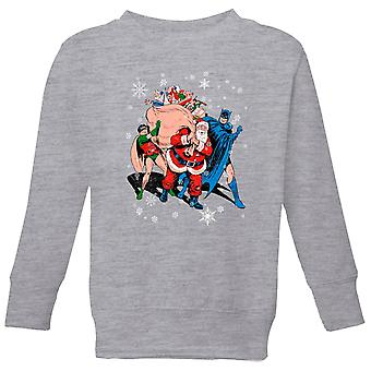 DC Batman Robin Santa Claus Kids' Christmas Sweatshirt - Grey