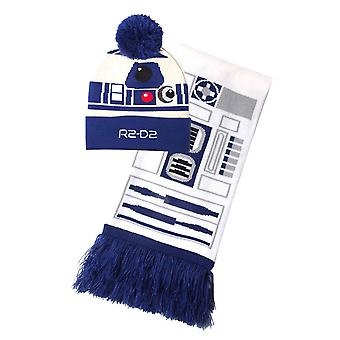 Star Wars Beanie Scarf Gift Set R2 D2 Droid Logo new Official Unisex