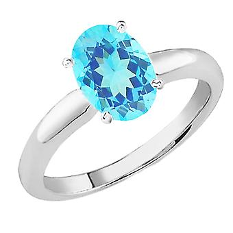 Dazzlingrock Collection 14K 9x7 MM Oval Cut Blue Topaz Ladies Solitaire Bridal Engagement Ring, White Gold
