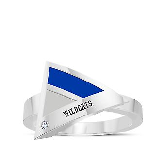 University Of Kentucky Engraved Sterling Silver Diamond Geometric Ring In Blue and Grey