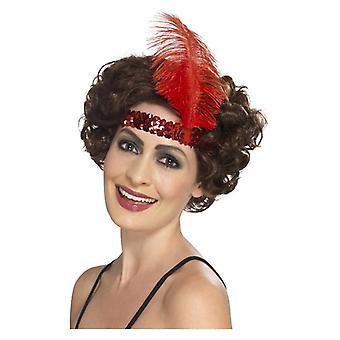 Dame 1920s stopgarn hovedbøjle røde Fancy kjole tilbehør