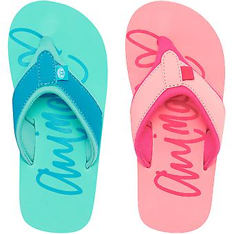 Dierlijke meisjes Kids swish logo casual slip op zwembad strand zomer sandalen flip flops