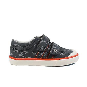 Startrite Wave Grey Canvas With Shark Motif Boys Rip Tape Casual Shoes