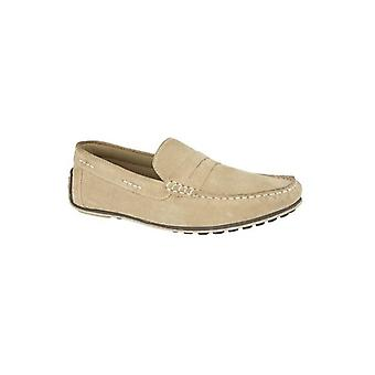 Roamers Alfred Mens Suede Moccasin Loafers Stone