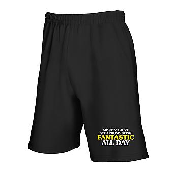 Black tracksuit shorts trk0725 fantastic day