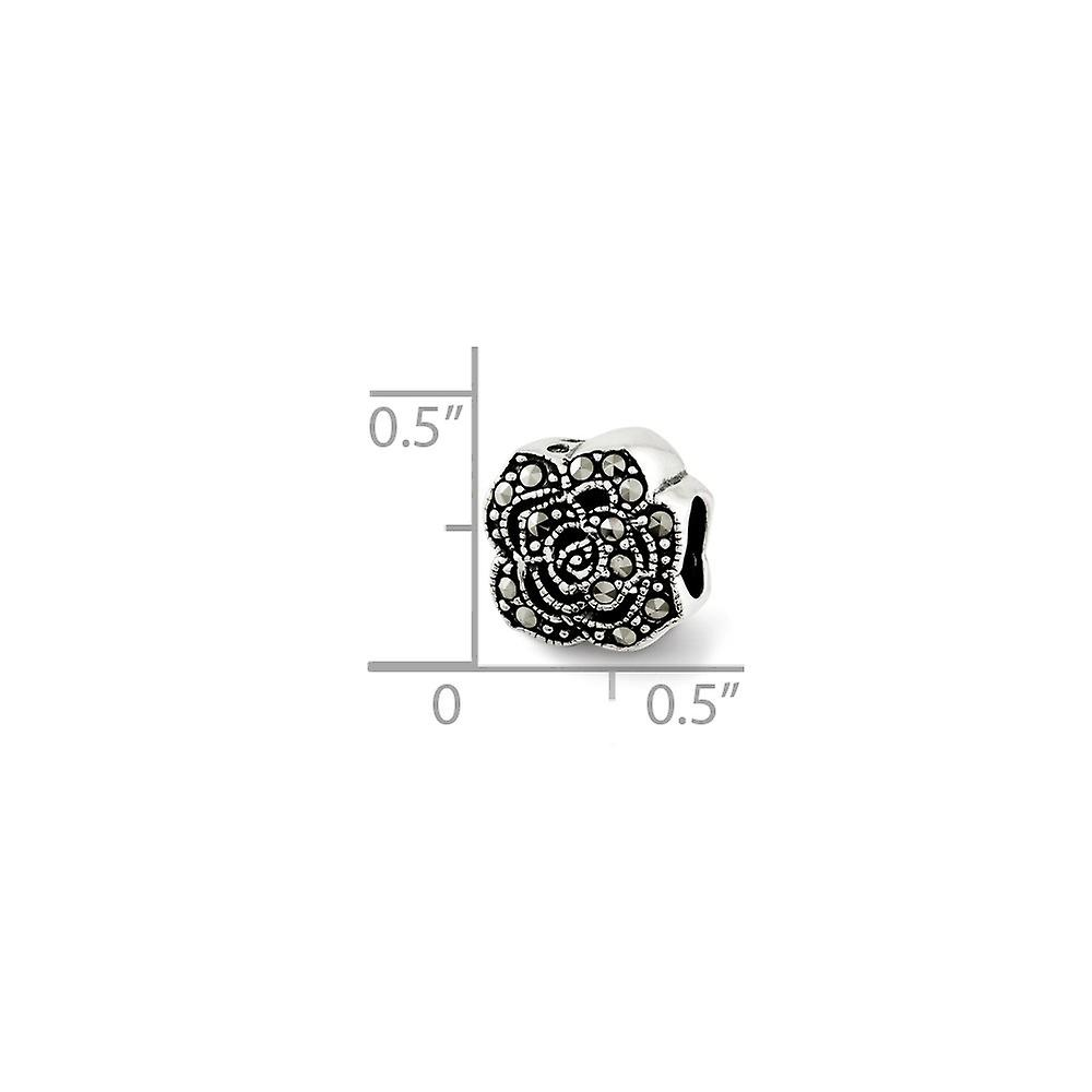 925 Sterling Silver finish Reflections Marcasite Flower Bead Charm Pendant Necklace Jewelry Gifts for Women