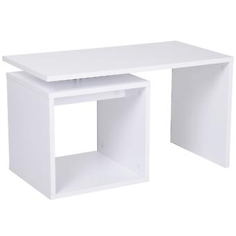 HOMCOM Wooden Coffee Table Console Desk Freestanding Cubed Design Organizer Living Room Furniture Storage Shelf End Table TV Stand Display Stand  (White)