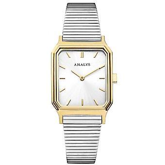 Uhr Amalys JOLENE - Stahl Box Dor Silber Stahl Armband weiß Zifferblatt weiße Frauen