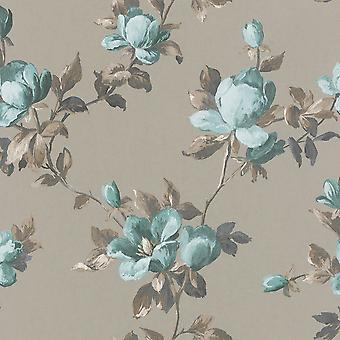 Emilia Rose Floral Wallpaper Gold and Teal Blue Rasch 502152