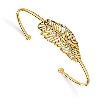 2mm 925 Sterling Silver Gold ton Leaf Cuff Stackable Bracelet Bijoux Bijoux pour les femmes