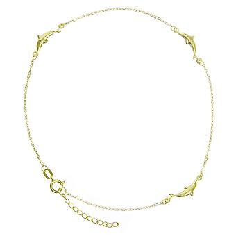 14k Yellow Gold Adjustable Dolphin Station Twist Singapore Chain Ankle Bracelet 10 Inch Jewelry Gifts for Women