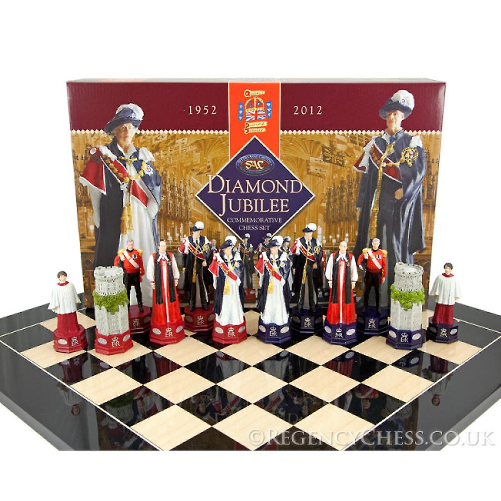 Official H.M. The Queen's Diamond Jubilee Chess Set Black Anegre