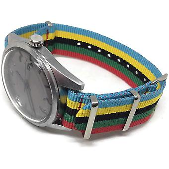 N.a.t.o g10 watch strap zulu stripe red green black yellow and blue sizes 18mm too 24mm