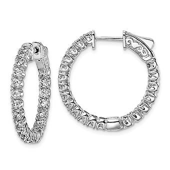 925 Sterling Silver Polished Hinged hoop Safety clasp Rhodium plated CZ Cubic Zirconia Simulated Diamond Round Hoop Earr