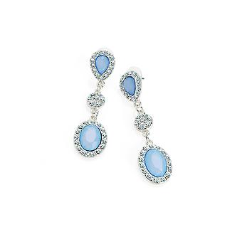 Silver Crystal and Blue Bead Embellished Drop Earrings