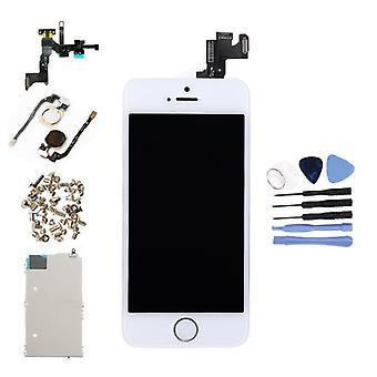 الاشياء المعتمدة® iPhone 5S شاشة تم تجميعها مسبقًا (شاشة تعمل باللمس + LCD + أجزاء) AA + Quality - أبيض + أدوات