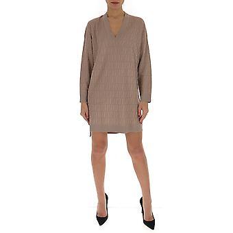 Fendi Fzd824aavgf19ek Frauen's Beige Baumwollkleid