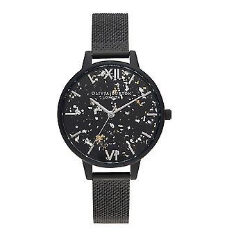 Olivia Burton Zegarki Ob16gd16 Kobiety&s Matte Black Celestial Mesh Watch