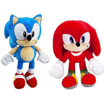 2-Pack Sonic The Hedgehog & Knuckles Stuffed Animals Plush Soft Ice 30cm