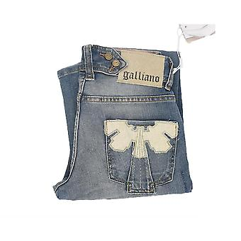 GALLIANO Women's Skinny Fit Jeans with Angel Pocket Motif