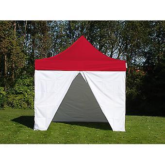 Gazebo pieghevole FleXtents® PRO, Tenda sanitaria e di Primo Soccorso, 3x3m, Rosso/Bianco, incluse 4 pareti laterali