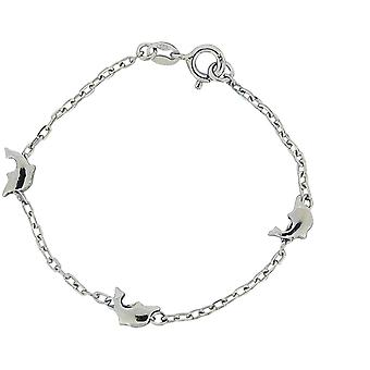 TOC Girls Sterling Silver Dolphin Charm Bracelet 7