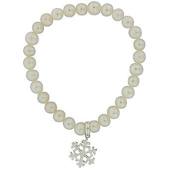 Jo For Girls Freshwater Cultured Pearl (5-6mm) AB Snowflake Charm Bracelet 5