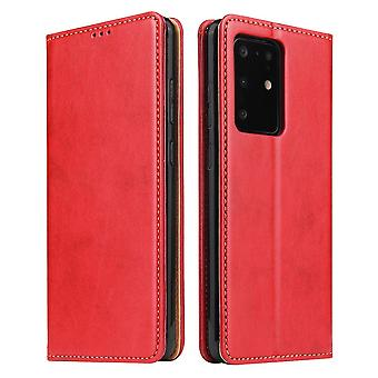 Pour Samsung Galaxy S20 Ultra Case Leather Flip Wallet Folio Cover Red