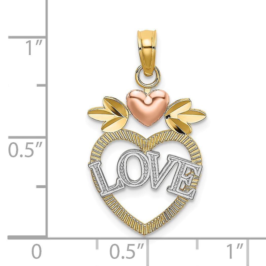 14k Two tone Gold White Love Inside Heart Pendant Necklace With Pink Heart Tri color Jewelry Gifts for Women