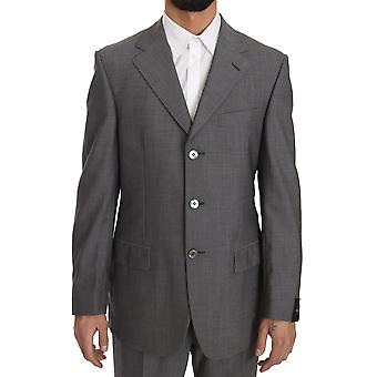 Solid Gray Two Piece 3 Button Wool Suit -- KOS1241648