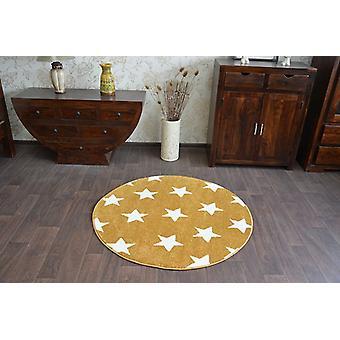 Rug SKETCH circle - FA68 gold/cream - Stars