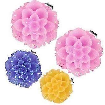Schimmernde Dahlien Blume Ohrstecker in drei frischen Farben