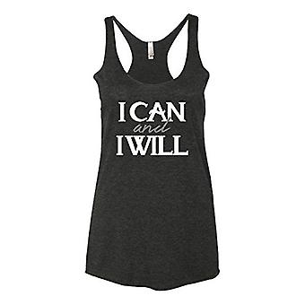 Panoware Women's Funny Workout Tank Top | I Can and I Will, Vintage Black, Sm...
