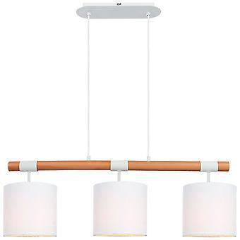 BRILLIANT Lamp Eloi Hanglamp 3flg natuurlijk/wit | 3x A60, E27, 60W, g.v. normale lampen n. ent. | In hoogte verstelbaar