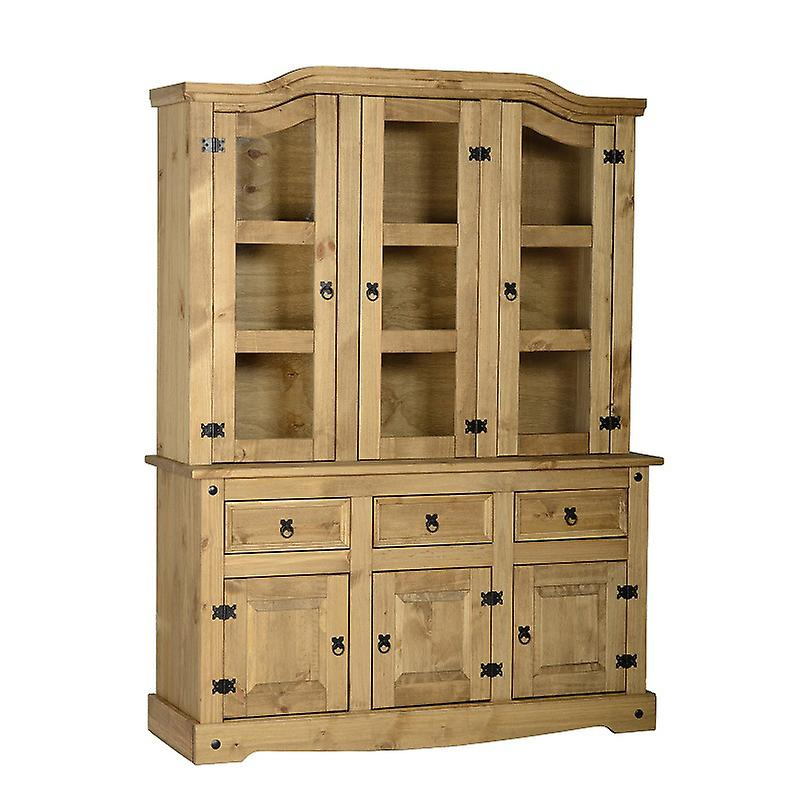 Corona 4-apos;6-quot; Buffet Hutch Double Distressed Waxed Pine/glass