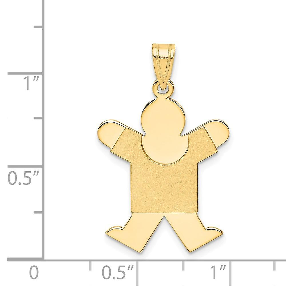 14k Yellow Gold Polished Engravable Solid Satin Engraveable Boy Jumping Charm Pendant Necklace Jewelry Gifts for Women
