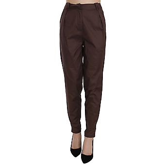 Brown High Waist Tapered Formal Trousers Pants -- PAN7601328