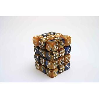 Chessex Gemini 12mm D6 Block - Blue-Gold/white