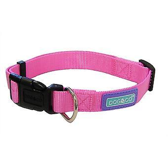 Dog & Co nylon verstelbare halsband - Roze - 12mm x 25- 35cm
