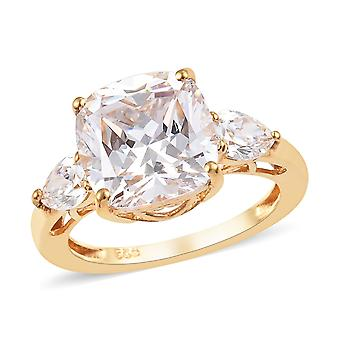 J Francis drei Stein Swarovski Zirkonia Ring Sterling Silber 14ct vergoldet