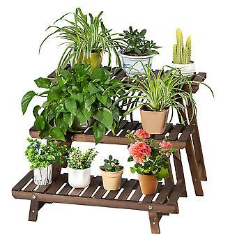 3 Tier Wood Plant Stand Ladder Step Flower Pot Display Shelf Garden In/Outdoor