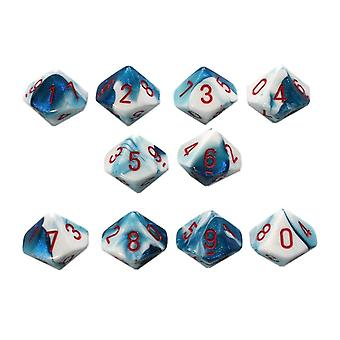 Chessex Gemini 10 x D10 Dice Set - Astral Blue-White/red