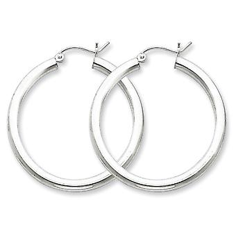 925 Sterling Silver Polished Hinged post 3mm Round Hoop Earrings Jewelry Gifts for Women - 3.5 Grams