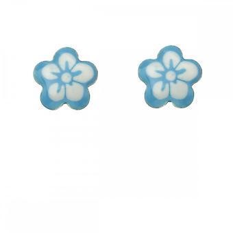 Inizio Sterling Argento Blu & Bianco Fiore Orecchini A2041T
