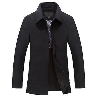 YANGFAN Men's Zip Lapel Casual Solid Colar Short Jacket