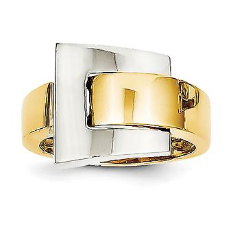 14k Two Tone Gold Polished Buckle Ring Size 7 Jewelry Gifts for Women - 5.3 Grams