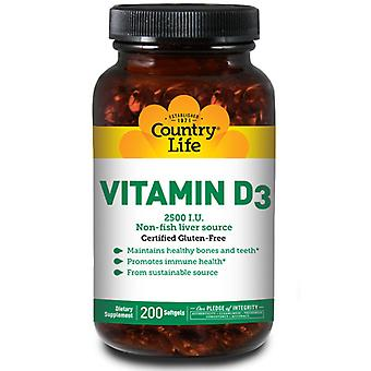Country Life D3-vitamiini, 2500 IU, 200 Softgels