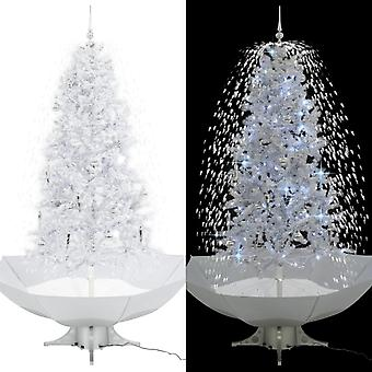 Snowing Christmas tree with umbrella foot White 190 cm