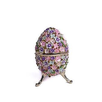 Egg Decorated With Flowers - Trinket Box