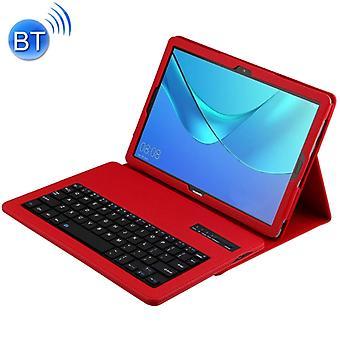 قابل للفصل لوحة المفاتيح بلوتوث + ليتوتشي نسيج أفقي الوجهة حالة الجلد ل هواوي ميدياباد M5 برو / M5 10.8 بوصة، مع هولدر (الأحمر)